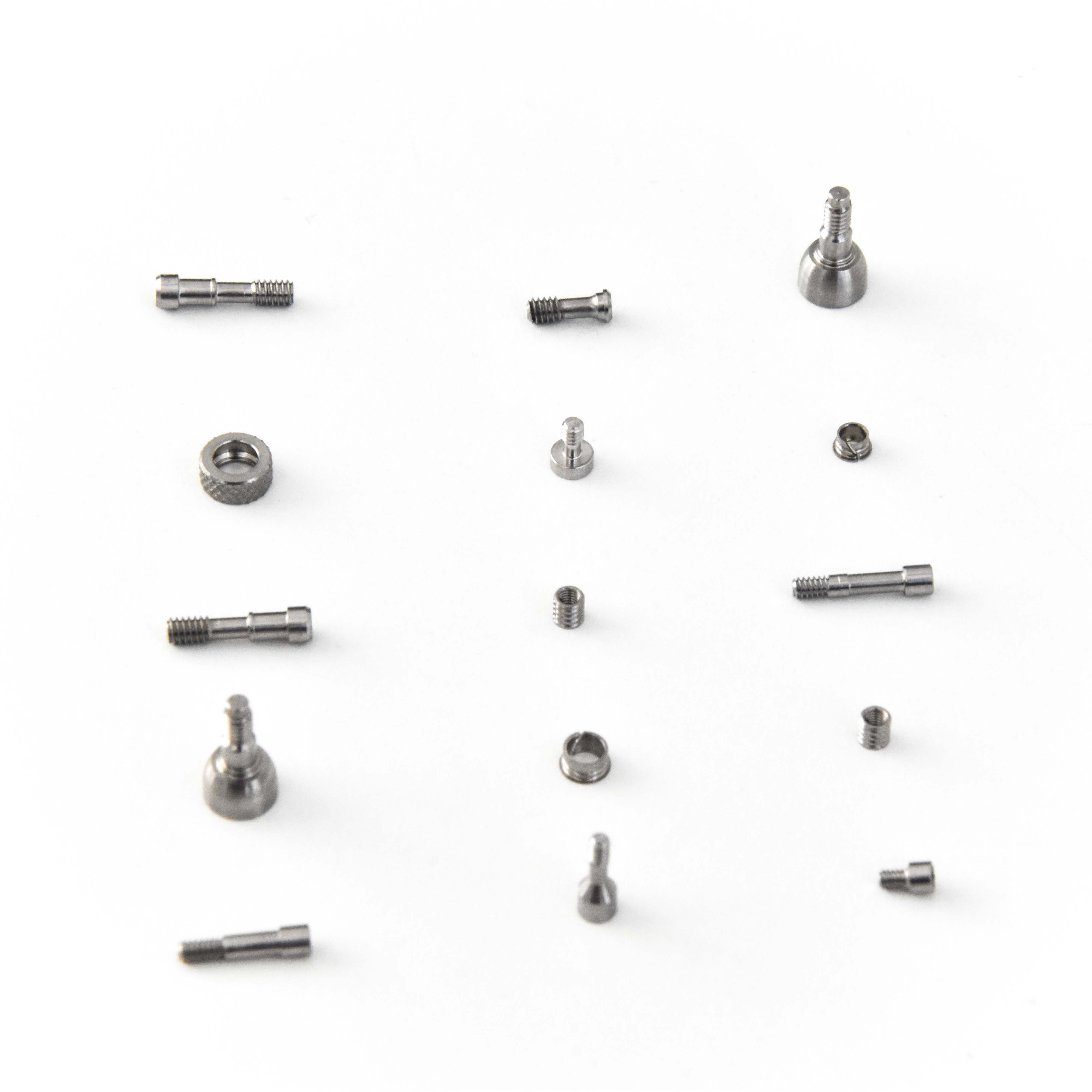 Connection, prosthetic and healing screws and threaded components